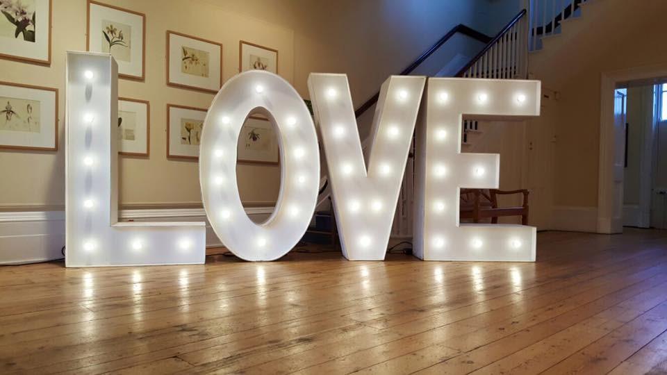 Light up letters spelling love