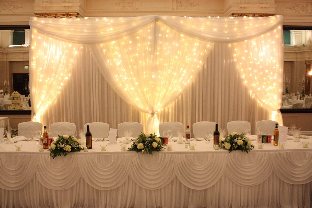 White Starcloth Backdrop at a Wedding