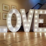 Light up letters spelling love