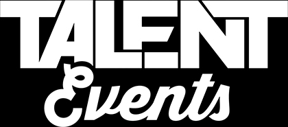 The Talent Events logo displaying the words talent events in bold white text on a rectangular black background